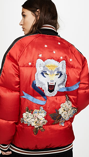 Coach 1941 Wolf Souvenir Puffer Coat with Detachable Collar