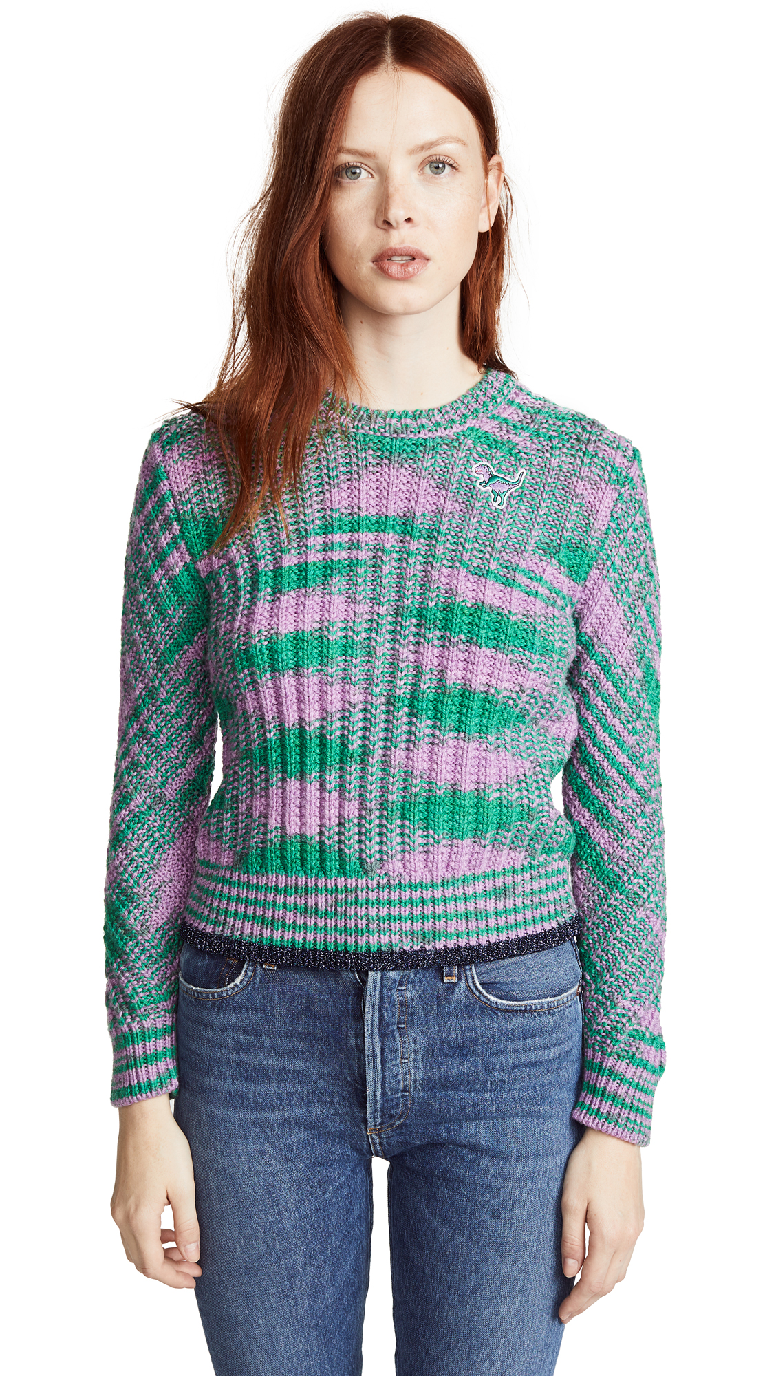 1941 Space Dye Crew Neck Sweater, Green/Lilac