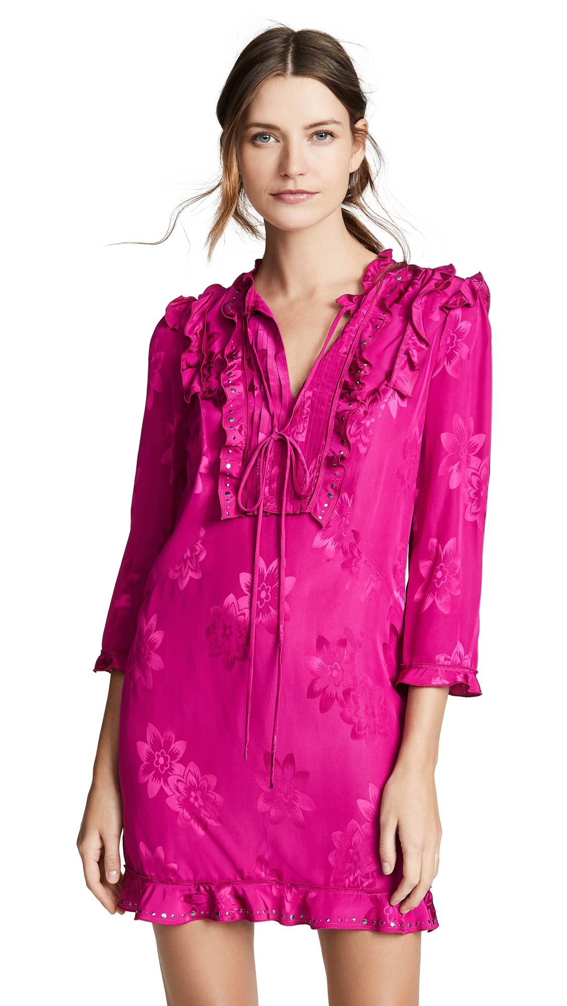 Embellished Floral Jacquard Ruffle Dress in Fuschia from COACH