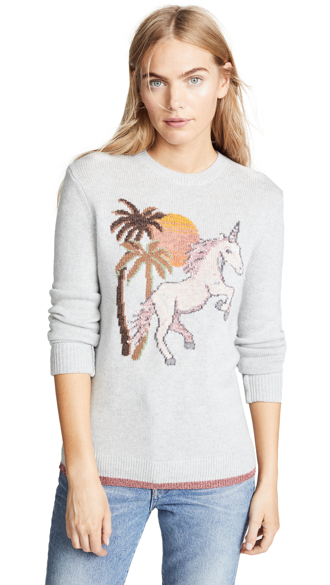 Uni Intarsia Wool-Cashmere Sweater in Grey from COACH