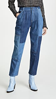 Coach 1941 Denim Patchwork Pleated Trousers