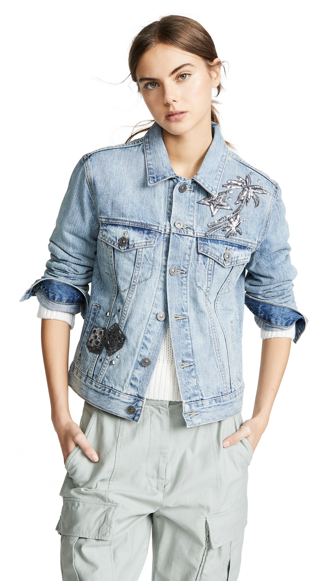 Coach 1941 Embellished Denim Jacket - Blue