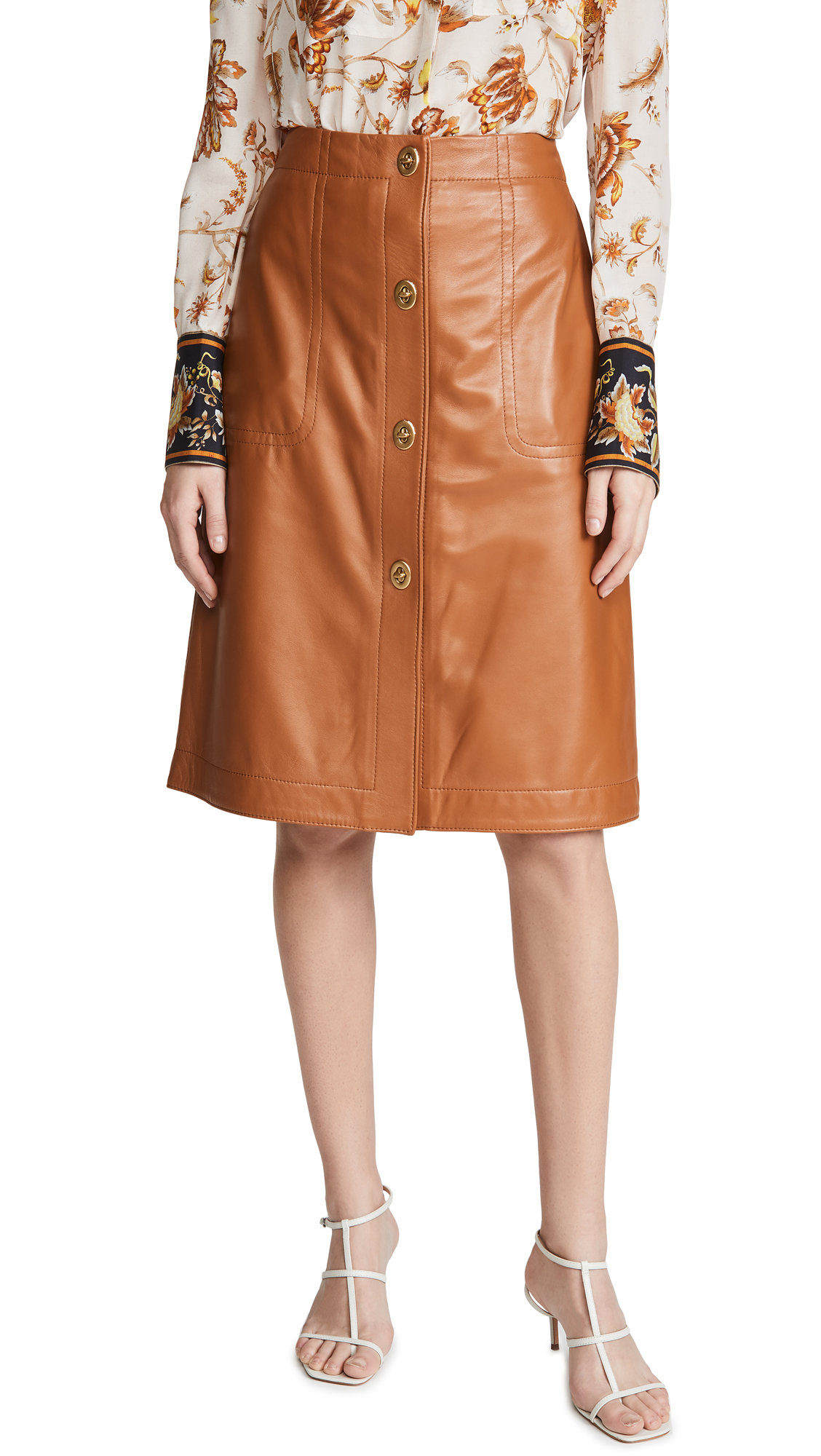 Buy Coach online - photo of Coach 1941 Leather Skirt With Turnlocks