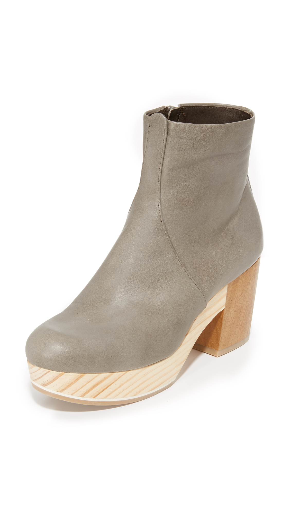 Coclico Shoes Tickle Clog Booties - Vitello Grey