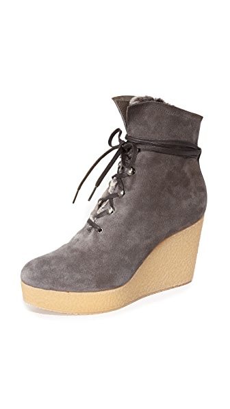Coclico Shoes Nagy Sherpa Platform Wedge Booties - Hammer Ebano