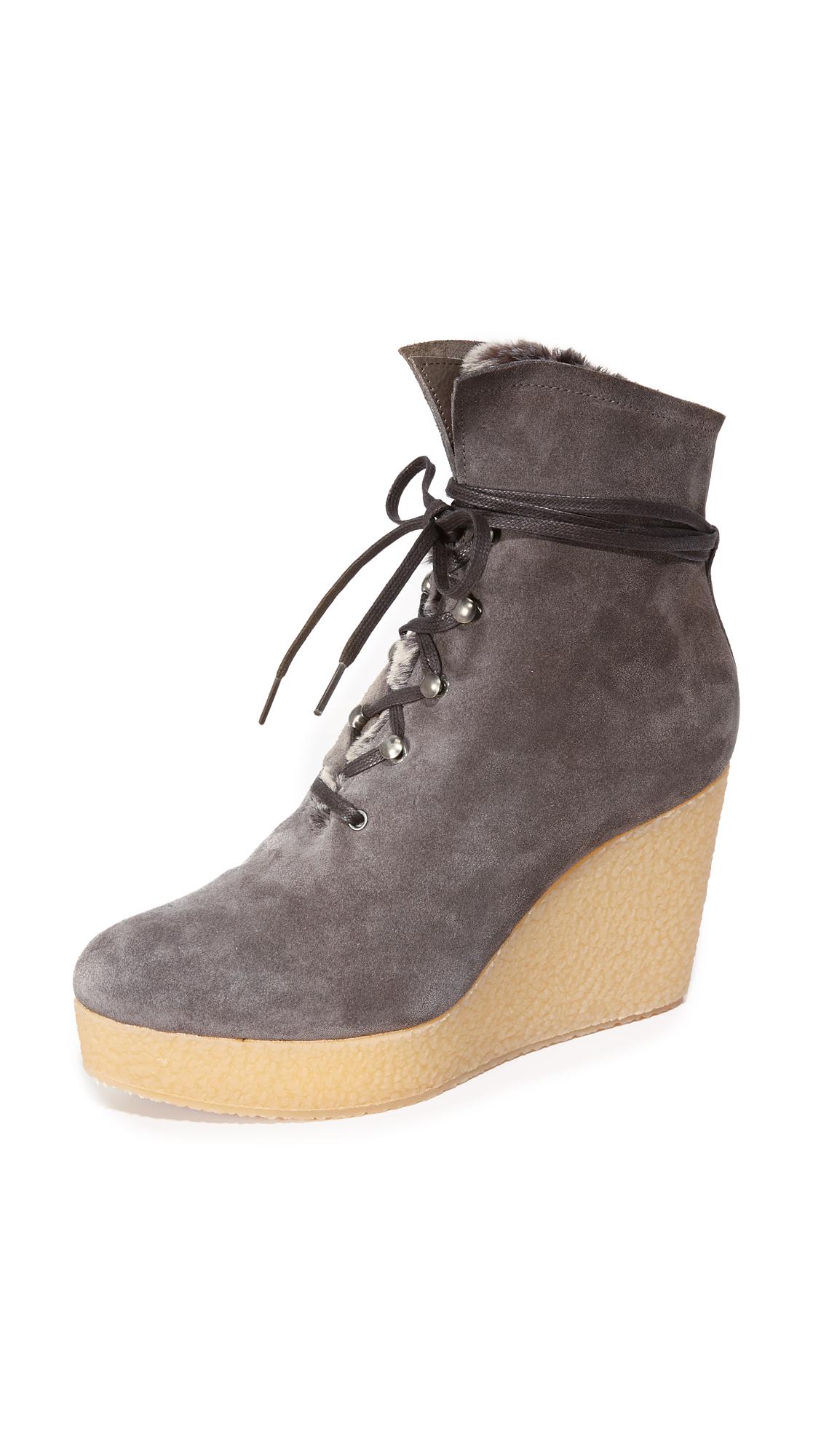 Coclico Shoes Nagy Sherpa Platform Wedge Booties - Hammer Ebano at Shopbop