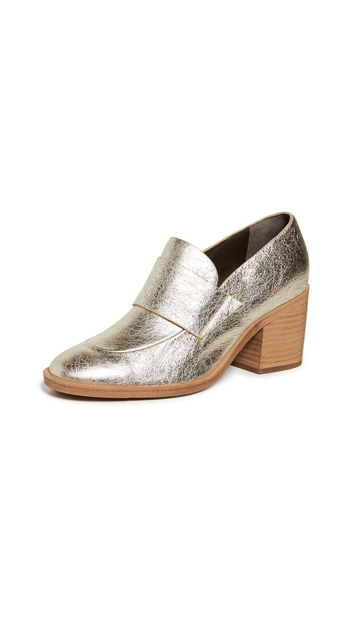 Coclico Shoes Bellatrix Block Heel Loafers - Carrara Gold