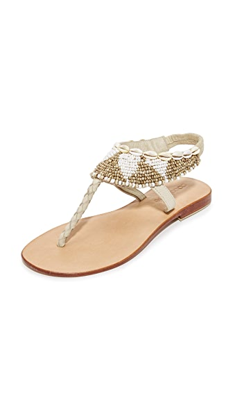 Cocobelle Maui Beaded Sandals - White