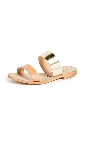 COCOBELLE Leather Slide Sandals in Natural