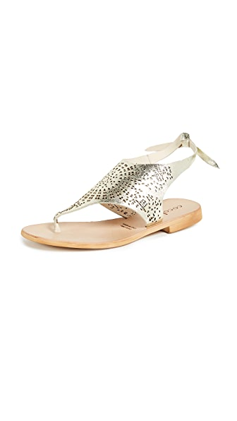 COCOBELLE Tye Perforated Sandals in Gold
