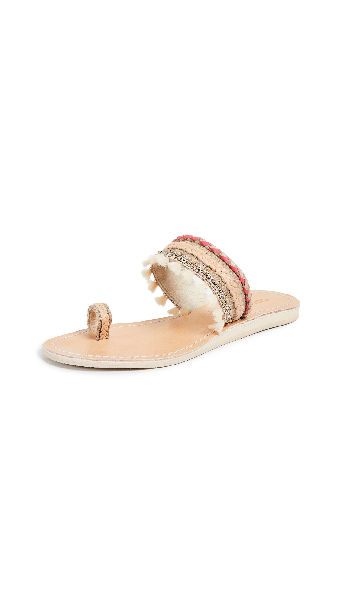Cocobelle Mahal Toe Ring Sandals - Hot Coral