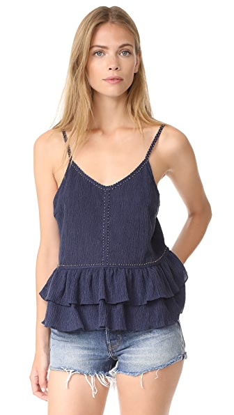 Chloe Oliver Crinkle Texture Ruffle Tank In Navy