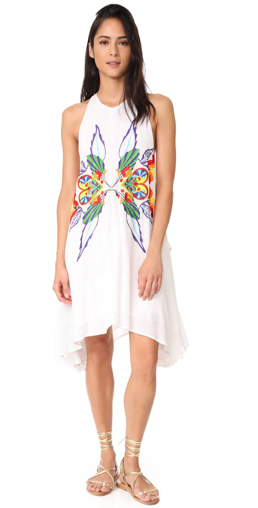 High Neck Embroidered Swing Dress Chloe Oliver