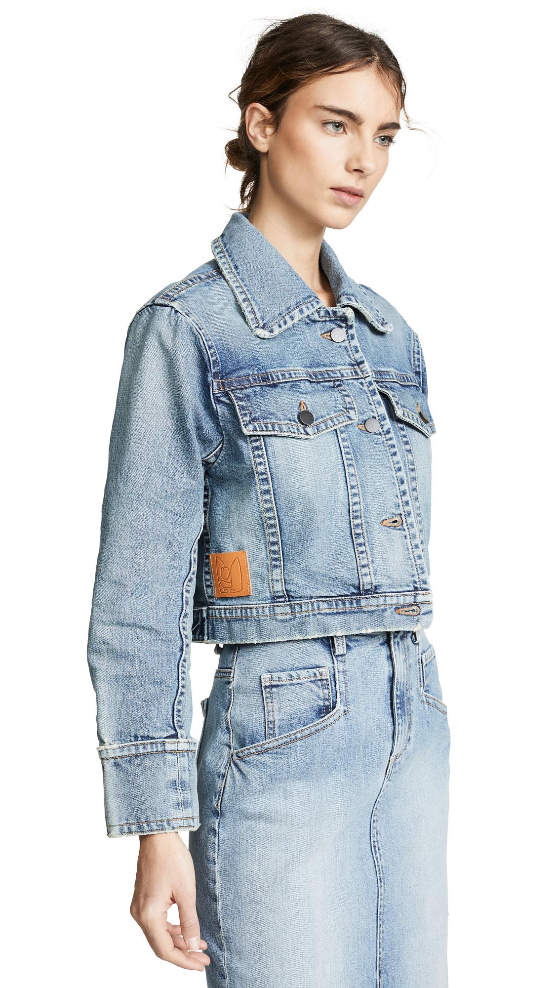 COLOVOS Cropped Vintage Denim Jacket in Vintage Blue