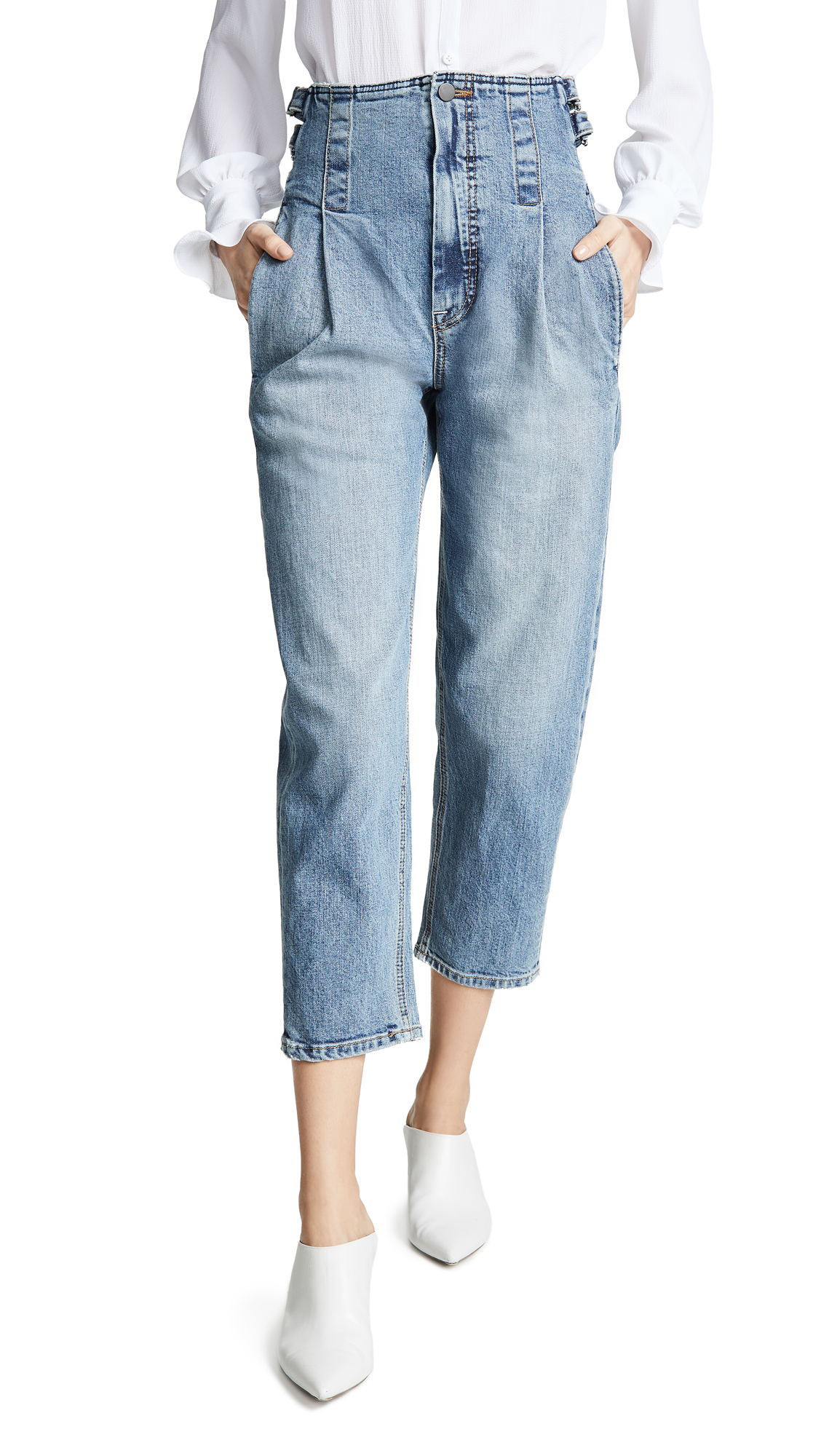 COLOVOS Vintage Buckle Pants in Vintage Blue