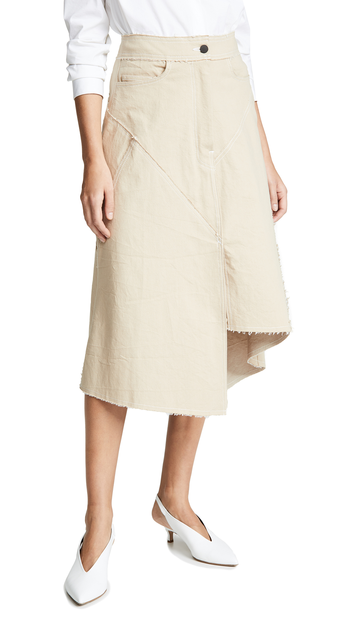 COLOVOS Seamed Skirt in Natural