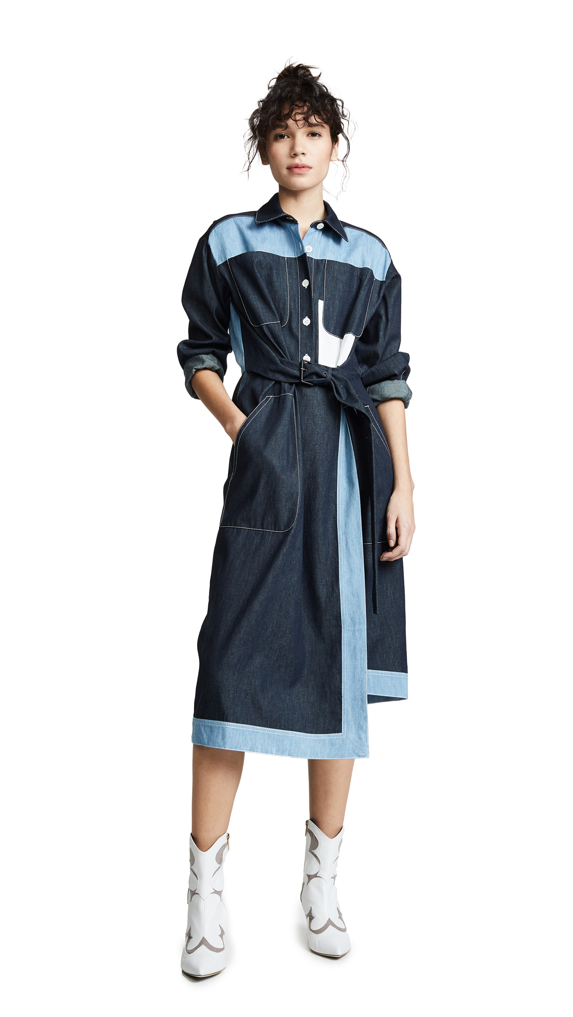 Colovos Belted Two Tone Shirtdress - Dark Blue/Light Blue