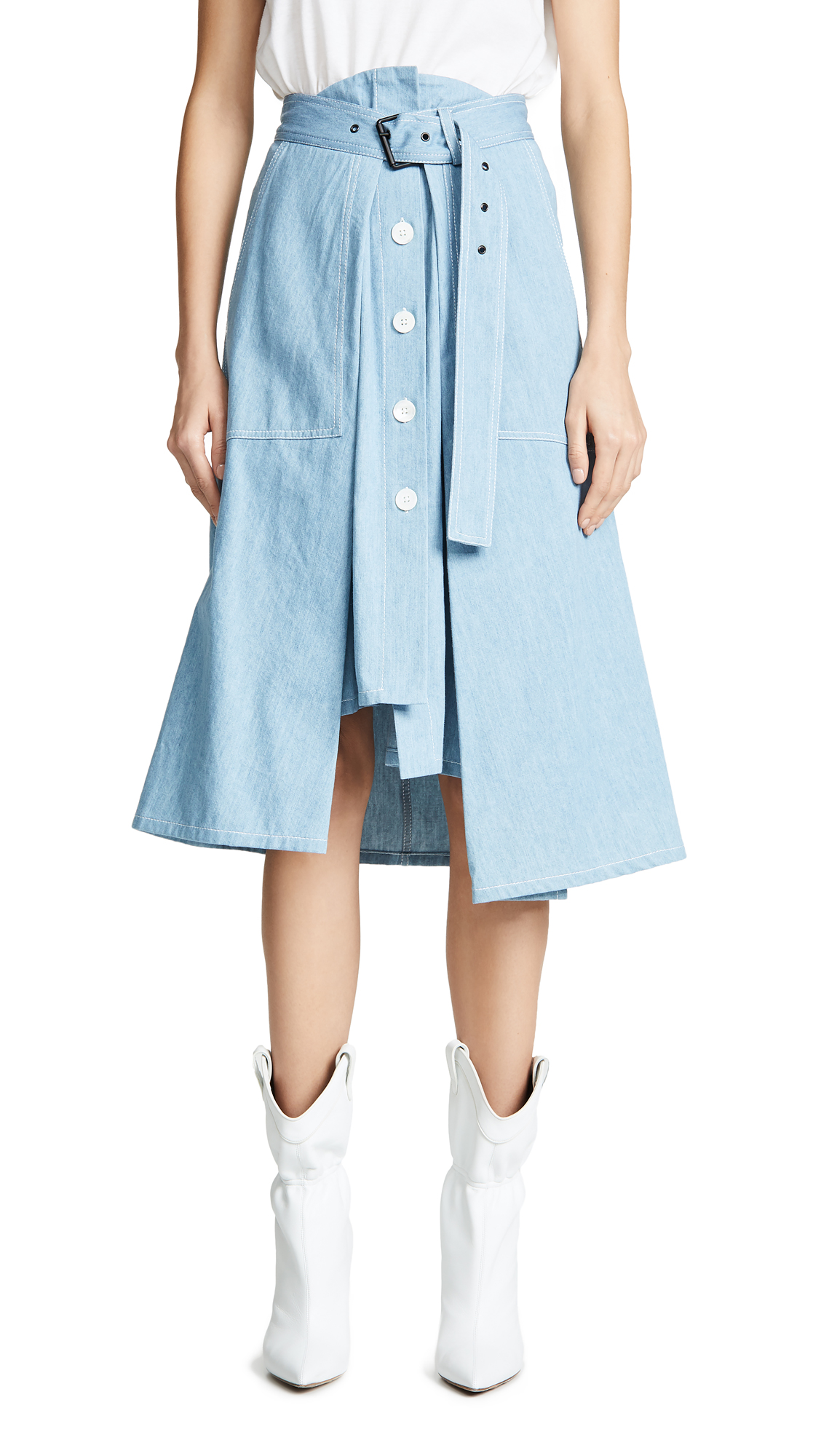 COLOVOS Tie Front Skirt in Light Blue