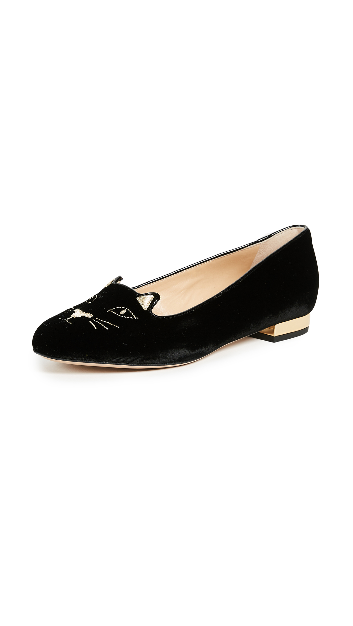 Charlotte Olympia Kitty Flats - Black/Gold