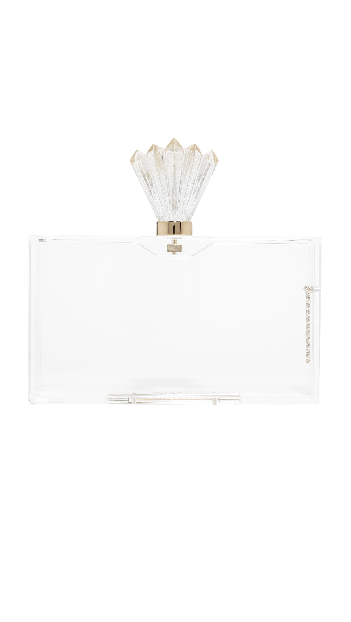 This striking Charlotte Olympia hardshell clutch is rendered in transparent acrylic. Decorative top lock and magnetic closure. Unlined interior with an optional zip pouch. Dust bag included. Fabric: Acrylic. Weight: 16oz / 0.45kg. Made in Italy. Measurements