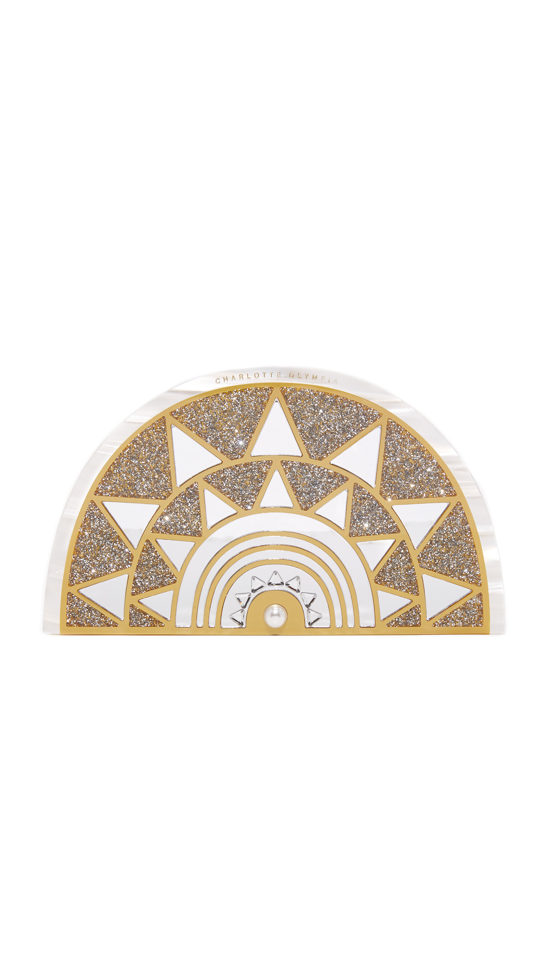 Angular mirrors and glitter infused panels form a striking mosaic on the front of this Charlotte Olympia hardshell clutch. An imitation pearl accents the base. Magnetic closure. Unlined interior. Dust bag included. Fabric: Acrylic. Weight: 11oz / 0.31