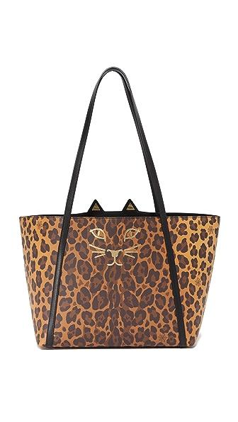 Charlotte Olympia Mini Feline Shopper Tote - Leopard
