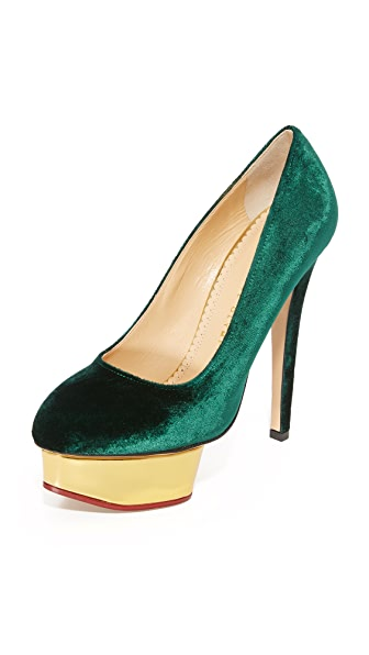 Charlotte Olympia Dolly Platform Pumps - Bottle Green
