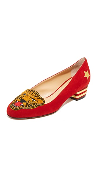 Charlotte Olympia Mascot Flats In Red/Gold