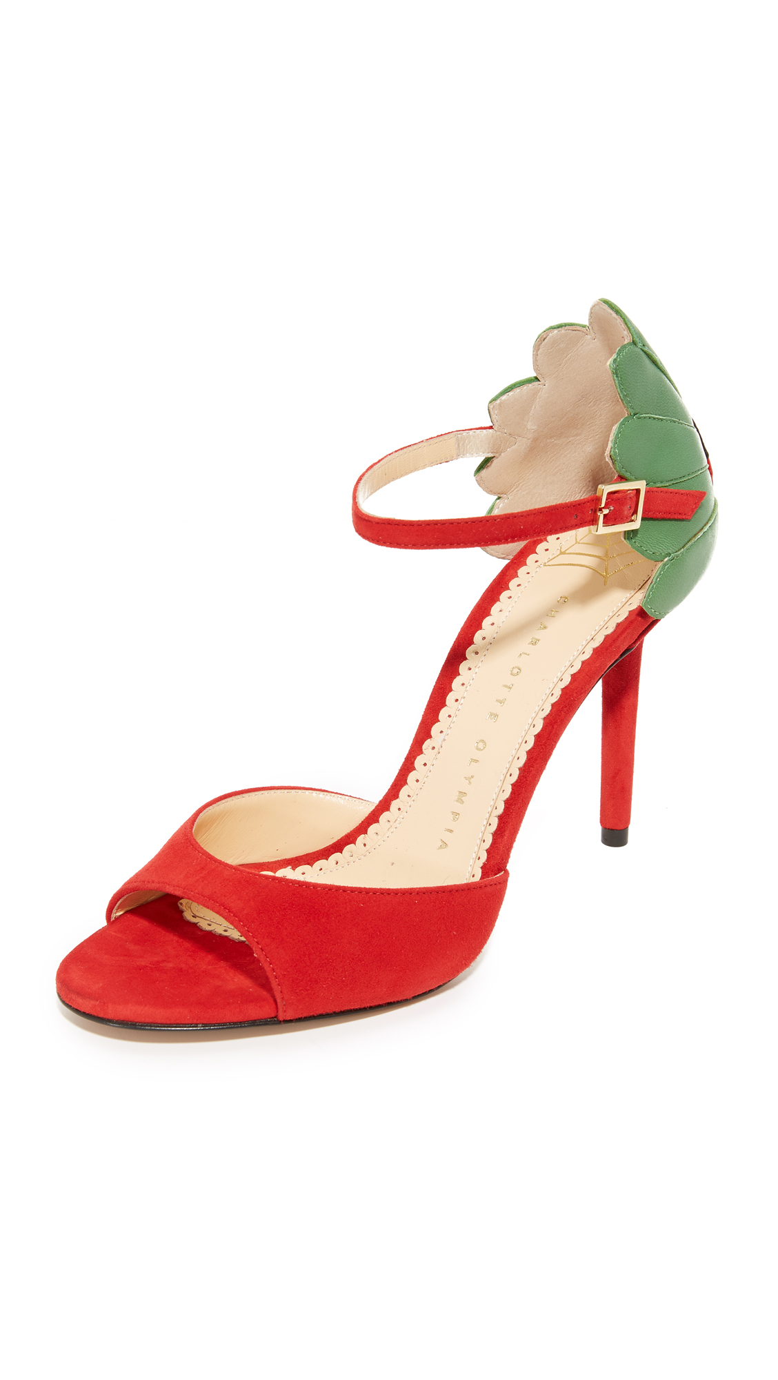 Charlotte Olympia Marge Leaf Sandals - Real Red/Verdant Green