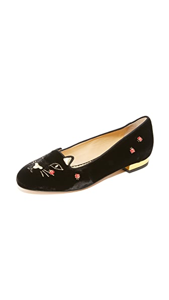 Charlotte Olympia Lucky Kitty Flats - Black/Gold