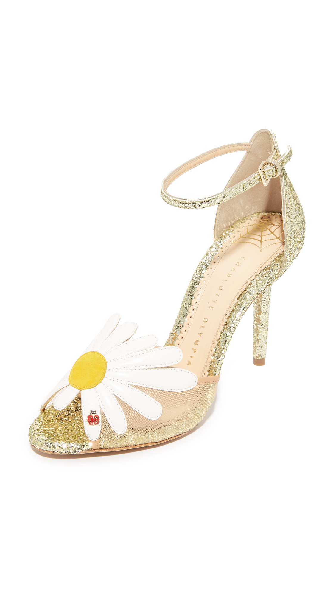 Charlotte Olympia Margherite Daisy Sandals - Platinum/White/Sunshine Yellow