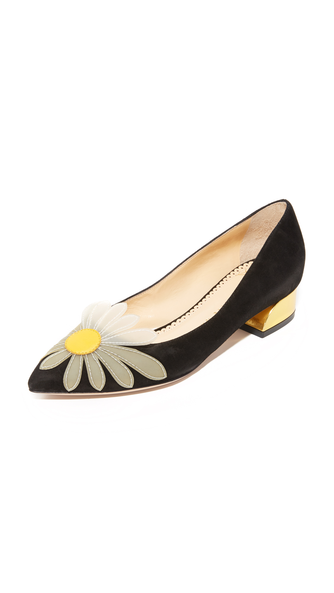 Charlotte Olympia Aster Daisy Court Shoes - Black/White/Sunshine Yellow at Shopbop