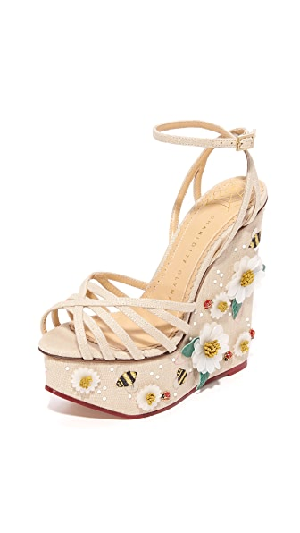 Charlotte Olympia Floral Meredith Sandal Wedges - Natural