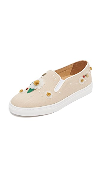 Charlotte Olympia Floral Alex Slip On Sneakers - Natural