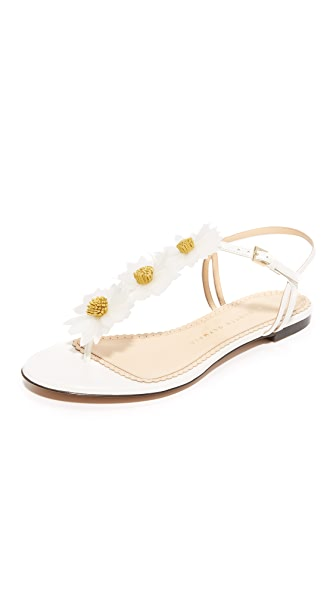 Charlotte Olympia Posey Flat Daisy Sandals - White