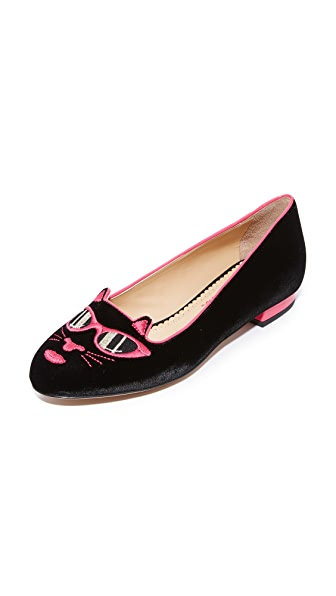 Charlotte Olympia Pretty in Pink Kitty Flats