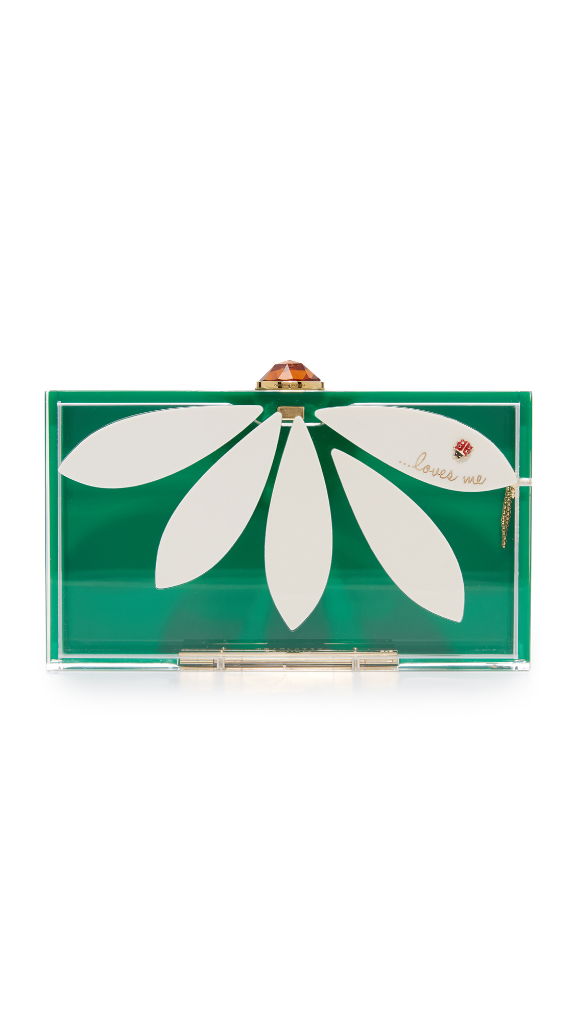 Charlotte Olympia Pandora Loves Me Clutch Box - White/Verdant Green