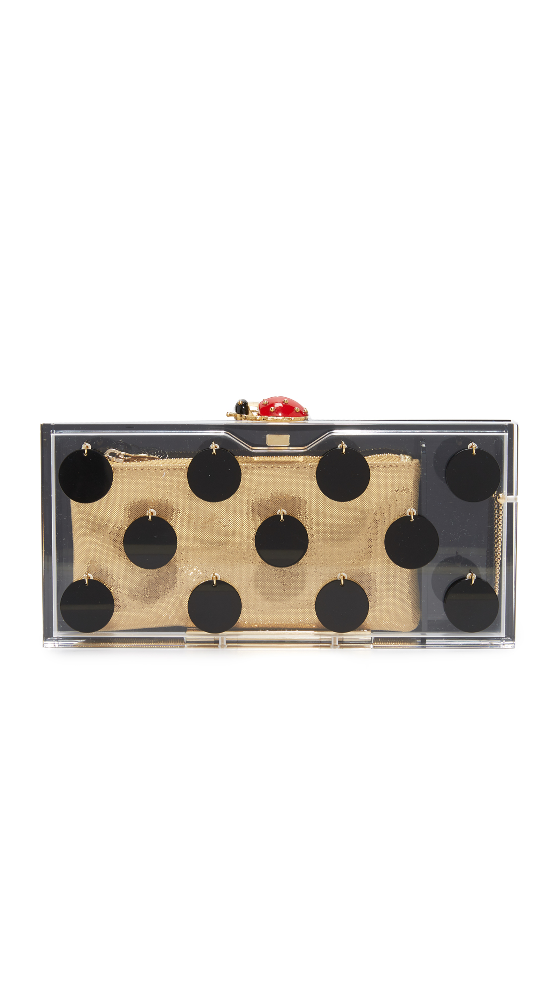 Charlotte Olympia Dotty Penelope Clutch Box - Transparent/Black