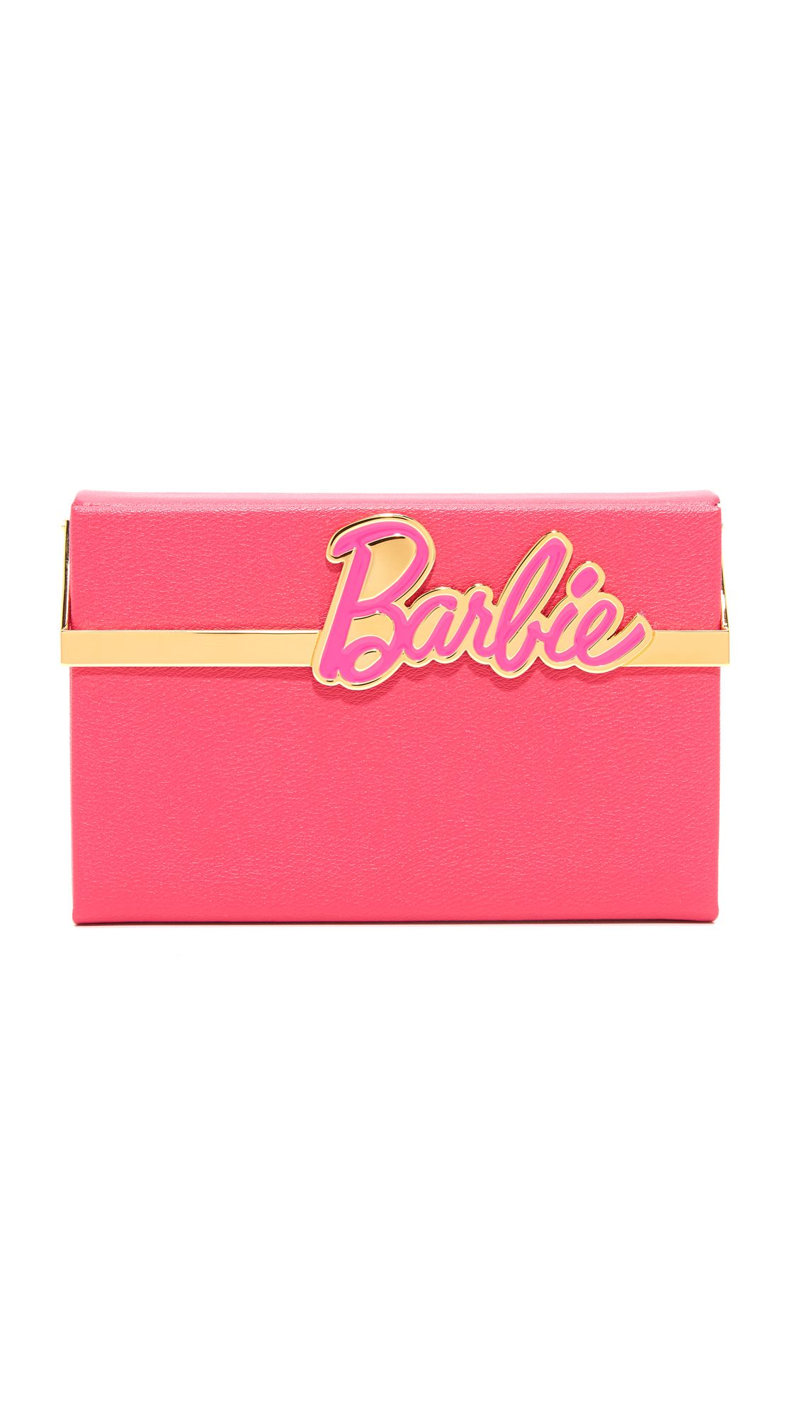 A hardshell Charlotte Olympia clutch in colorful leather. A hinged lock with 'Barbie' lettering secures the front flap. The leather lined interior has an inset vanity mirror. Dust bag included. Leather: Calfskin. Weight: 15oz / 0.43kg. Made