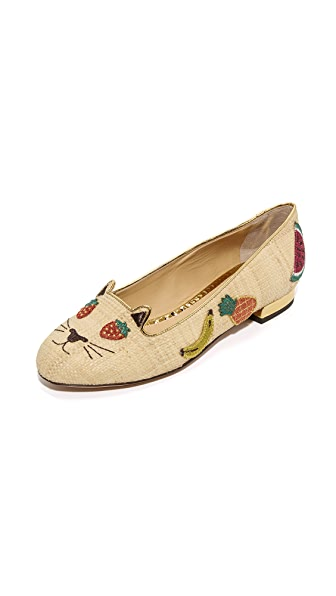 Charlotte Olympia Fruit Kitty Flats - Natural/Gold
