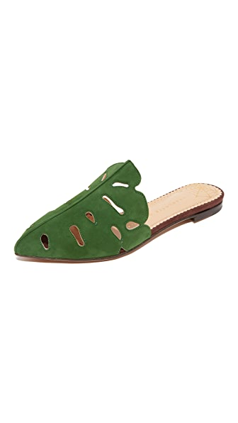 Charlotte Olympia Verdant Slippers - Jungle Green/Mahogany