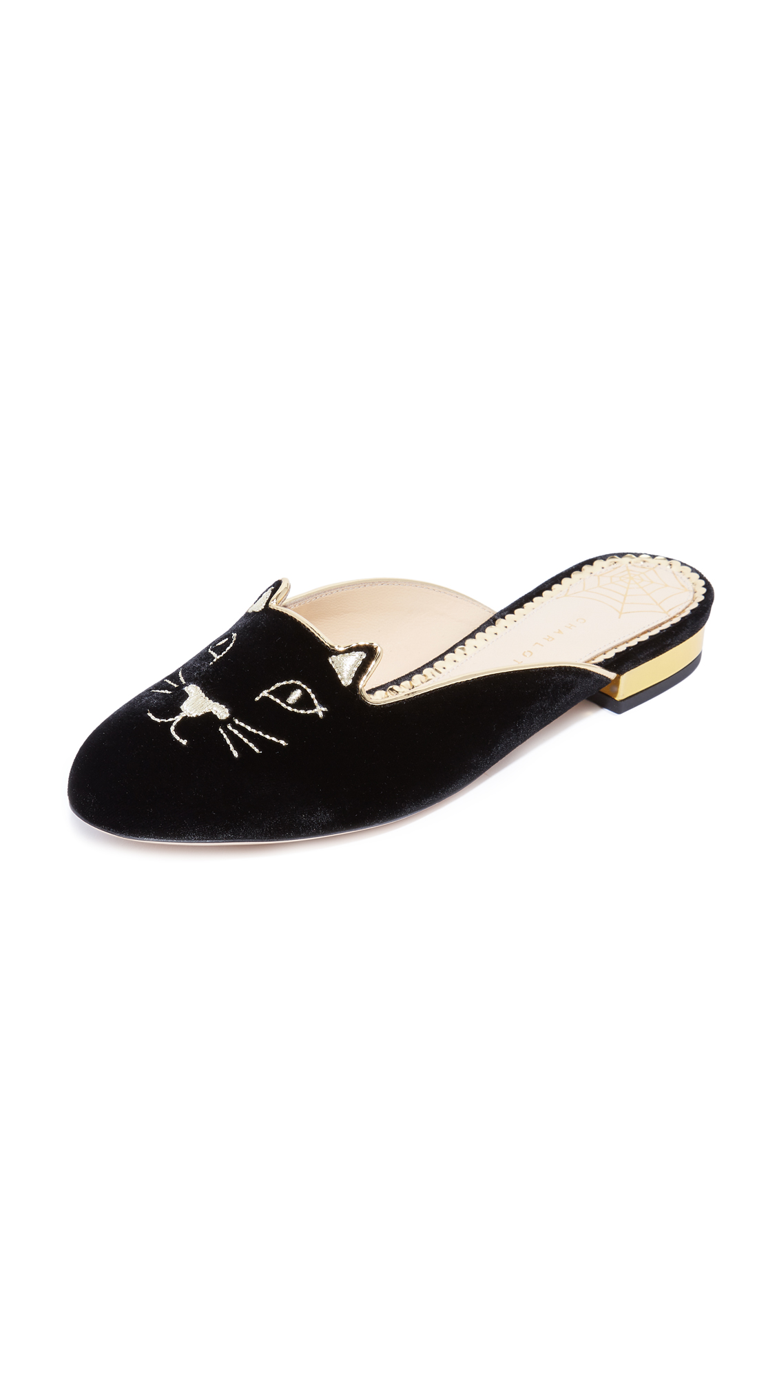 Charlotte Olympia Kitty Slippers - Black/Gold