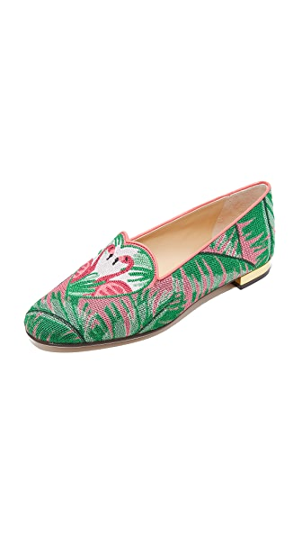 Charlotte Olympia Flamingo Slippers - Multi