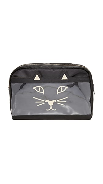 Charlotte Olympia Purrrfect Wash Bag - Black
