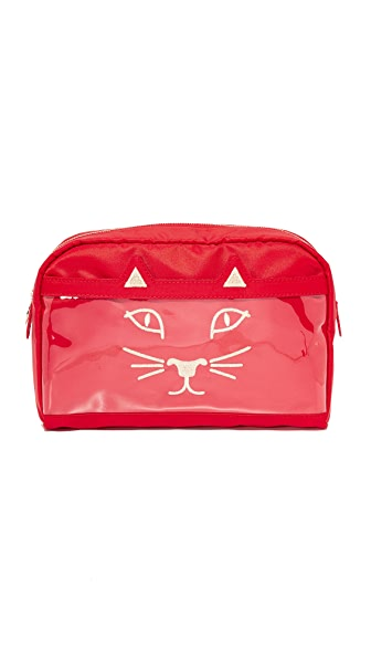 Charlotte Olympia Purrrfect Wash Bag - Red