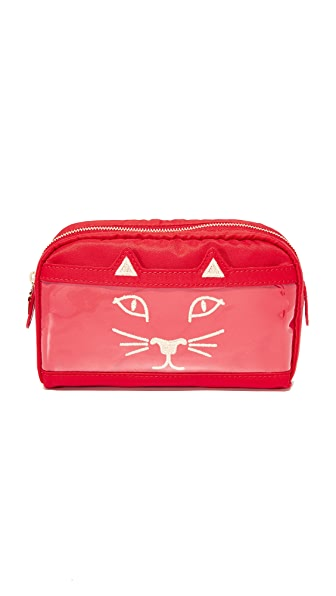 Charlotte Olympia Purrrfect Makeup Bag - Red