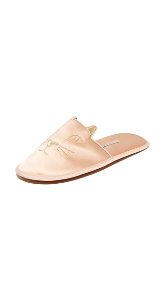 Charlotte Olympia House Cats Slippers - Blush