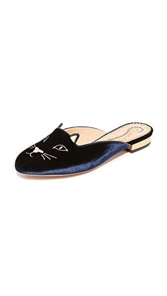 Charlotte Olympia Kitty Slippers - Navy/Gold