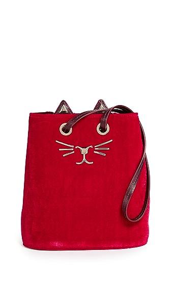 Charlotte Olympia Feline Bucket Bag In Red