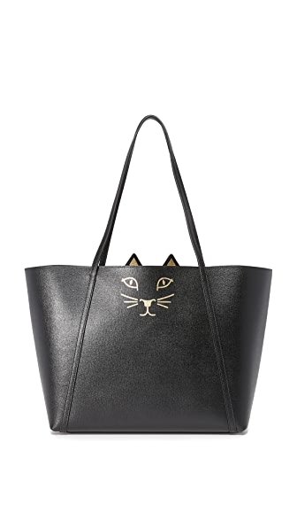 Charlotte Olympia Feline Shopper Tote - Black